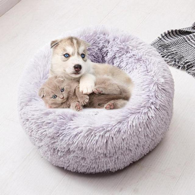 Soft Long Plush Pet Bed Cat Bed House Round Pet Dog Bed For Small Dogs Cats Nest Winter Warm Sleeping Bed Puppy Mat 6