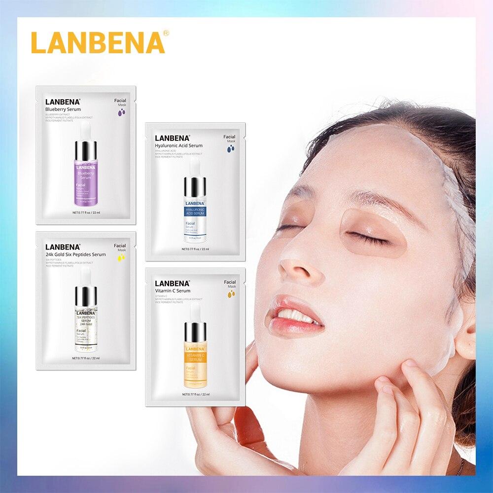 LANBENA Hyaluronic Acid Serum Face Mask+24K Gold Six Peptides+Vitamin C+Blueberry Anti-Wrinkles Facial Sheet Mask Face Care 4PCS