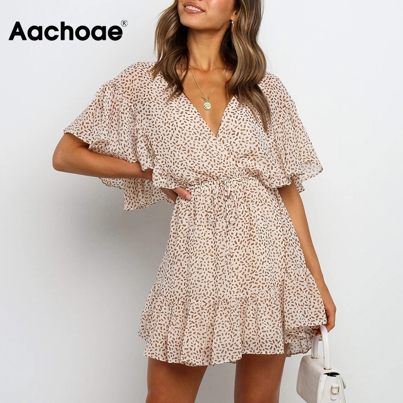 Aachoae Women Boho Printed Chiffon Mini Dress Summer V Neck Ruffled Sexy Beach Dresses A Line Short Sleeve Holiday Casual Dress