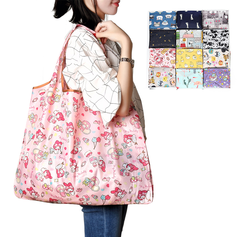 Foldable Shopping Bag Eco-friendly Folding Reusable Portable Shoulder Handbag Waterproof Polyester For Travel Grocery Bags