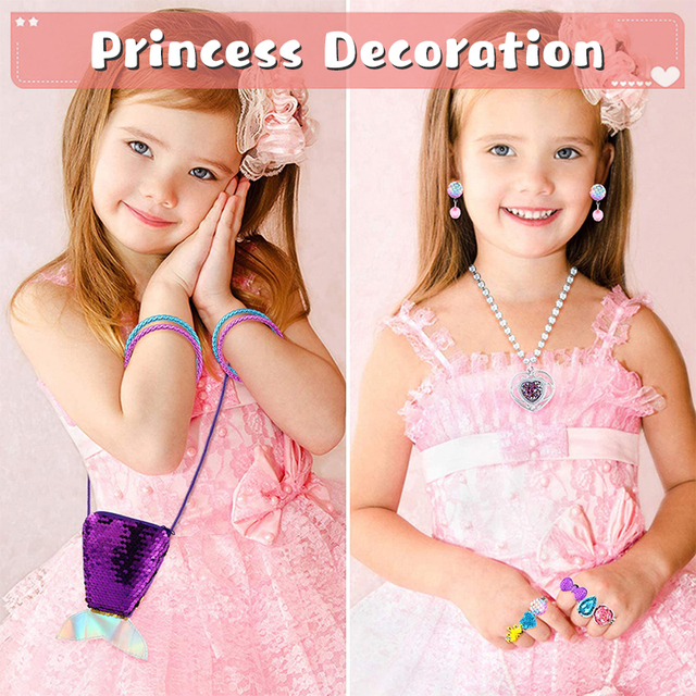 62Pcs Princess Pretend Jewelry Set Decor Princess-Toys Bags Necklace Bracelet Ring Earring Dress Up for Girls Party Supplies 4