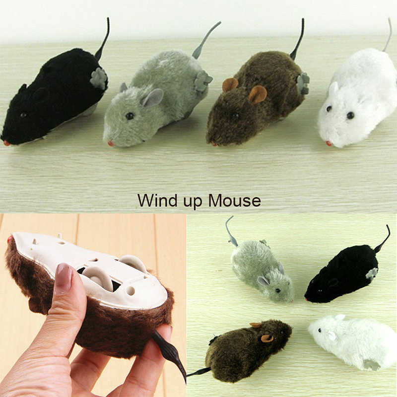 1 Pcs New 2019 Hot Funny Wind Up Running Mouse Rat Move Tail Cat Kitten Prank Toy Cute Playing Toys Joking Gag Gift Wind Up Toys