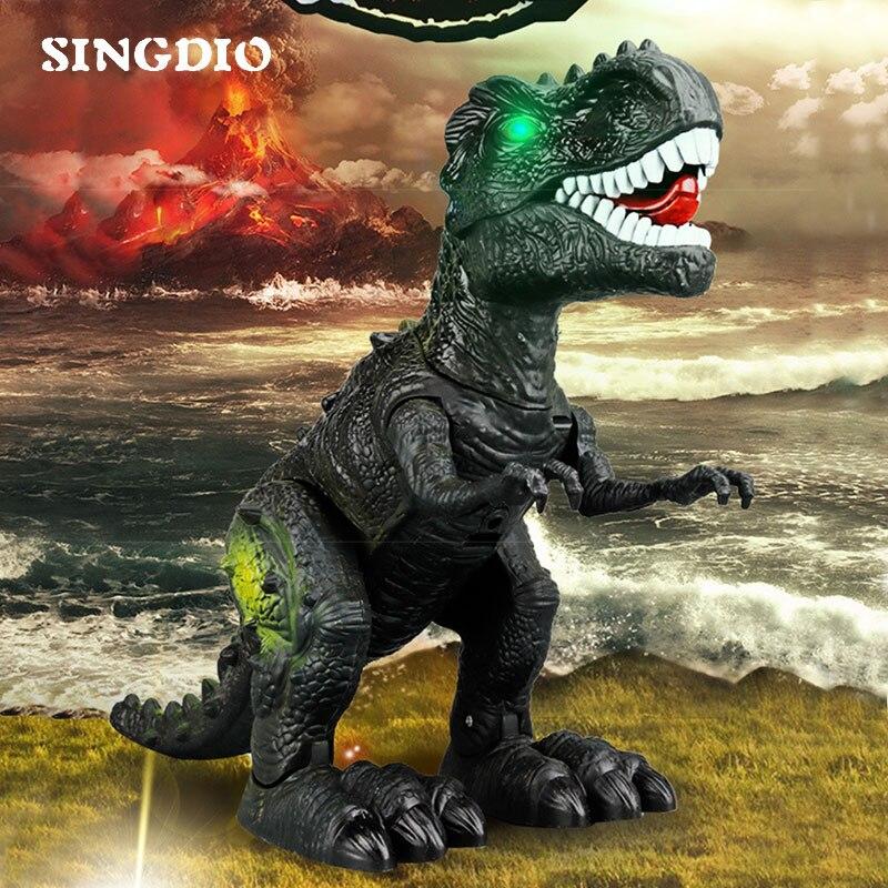 Large Plastic Electronic Park Indominus Rex Walking Moving Dinosaur Model Sound Light Game Robot Battery Toys For Children