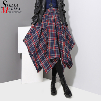 New 2019 Korean Style Women Winter Red Blue Plaid Skirt Split Checker Lady Irregular High Waist Casual Fashion Loose Skirt 3027 1