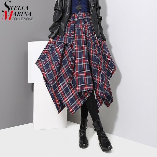 New 2019 Korean Style Women Winter Red Blue Plaid Skirt Split Checker Lady Irregular High Waist Casual Fashion Loose Skirt 3027 1