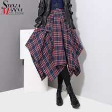 New 2019 Korean Style Women Winter Red Blue Plaid Skirt Split Checker Lady Irregular High Waist Casual Fashion Loose Skirt 3027(China)