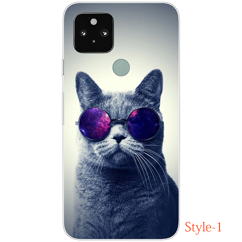 Case For Google Pixel 5 Silicon Cute Cat Cartoon Transparent Softl Case Flexible Dirt-Resistant Shockproof Flexible Fitted Case