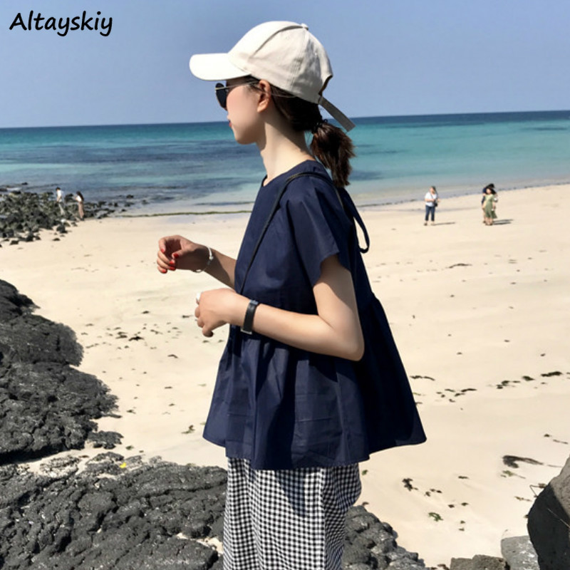 Shirts Women Solid Summer New Short Sleeve Loose Pleated Blouses Sweet Korean Style Student Womens Simple Basic Leisure Popular