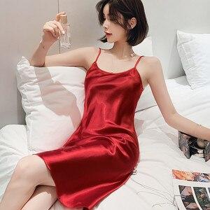 Image 1 - Camisón Sexy para mujer, ropa de dormir, camisón de cinturón Condole de seda sintética dormir en casa