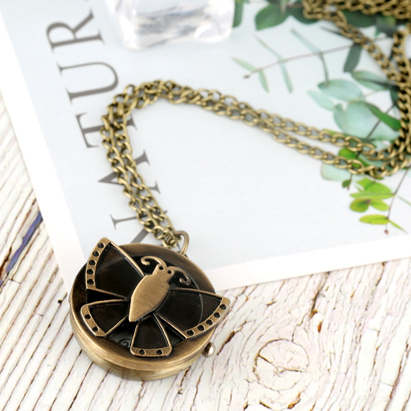 Unique Butterfly Pattern Case Pocket Watch Fashion Flip Cover Round Dial Necklace Pendant Chain Lovely Cute Clock Souvenir Gifts