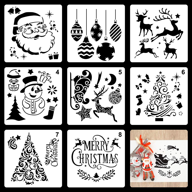 METABLE 30 Pcs Christmas Stencils Plastic Painting Templates Xmas Stencil Art Craft Drawing for Window Glass Door Wood DIY Decor