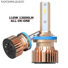 YOTONLIGHT H11 H1 Led Bulb Hb3 9005 H4 9006 Hb4 Lamp H7 Car Headlight Lights H8 110W 12000lm All-in-one Design 6000K 12V