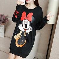 Streetwear Autumn Thin Long Sleeve Tshirts Minnie Mickey Cartoon Printed T Shirt Plus Size M 5XL Casual Loose Women Short Tops