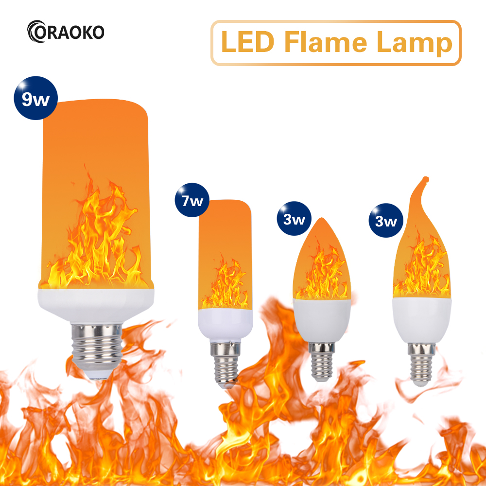 3W 5W 7W 9W E27 E26 E14 E12 Flame Bulb 85-265V LED Flame Effect Fire Light Bulbs Flickering Emulation Decor LED Lamp