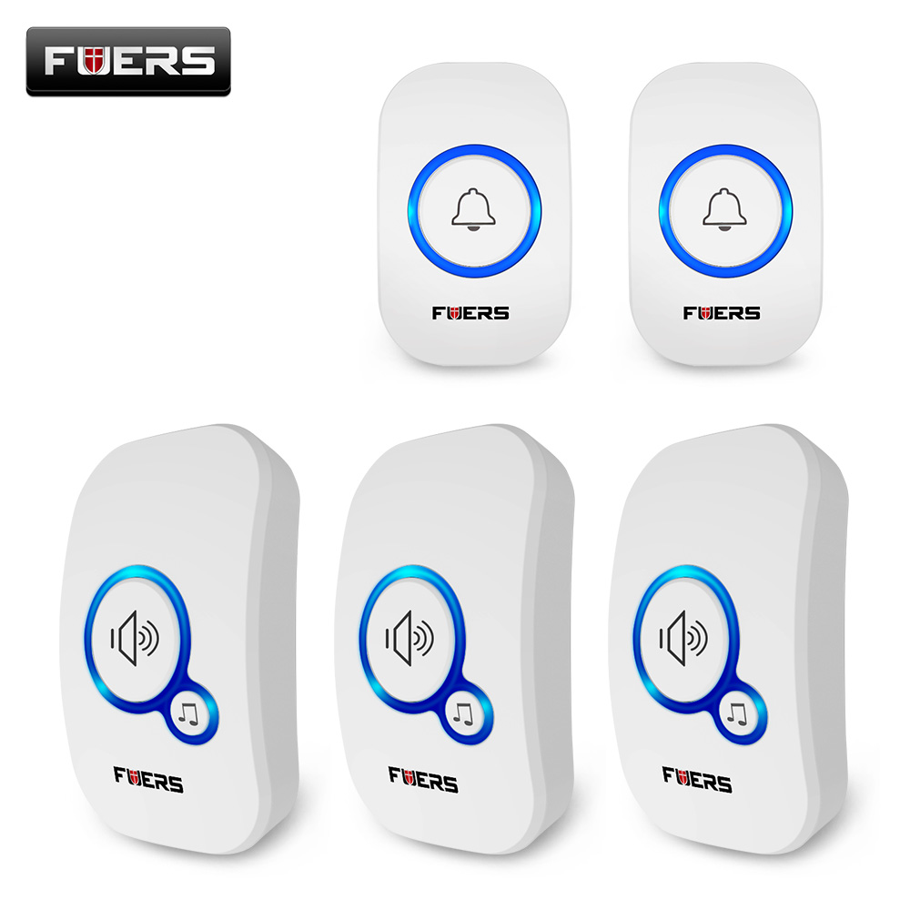 2020 FUERS Home Wireless Doorbell 32 Tunes Welcome Chime Doorbell Store Doorbell Ring EU UK US Plug Cordless Waterproof Button