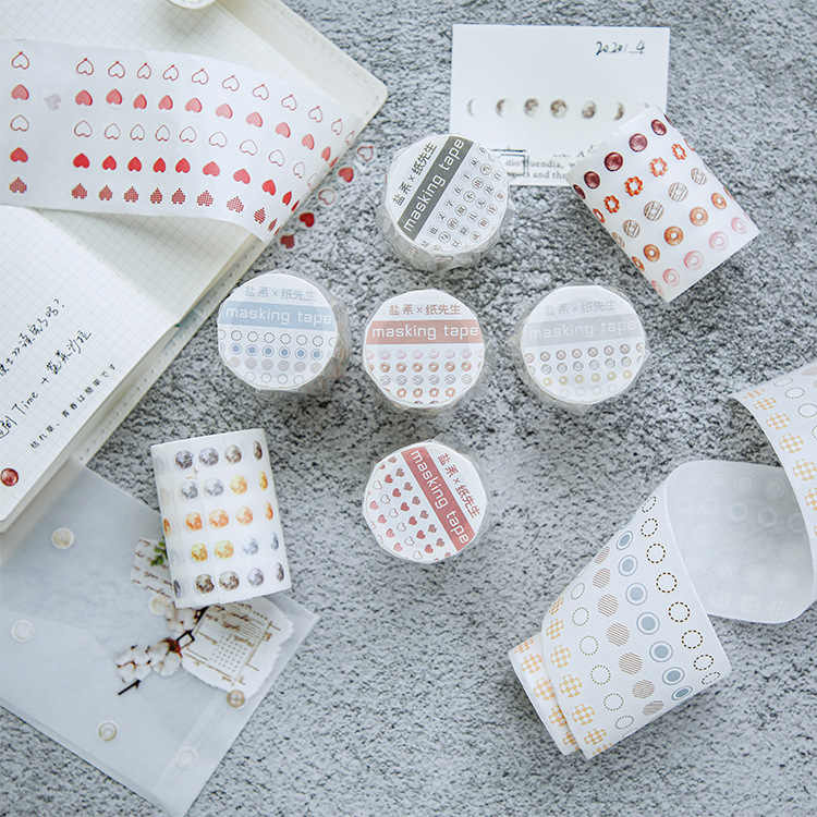 Kleurrijke Zoute Stippen Washi Tape Ronde Stickers Dot Stickers Voor Diy Decoratieve Dagboek Planner Scrapbooking Foto Ablums