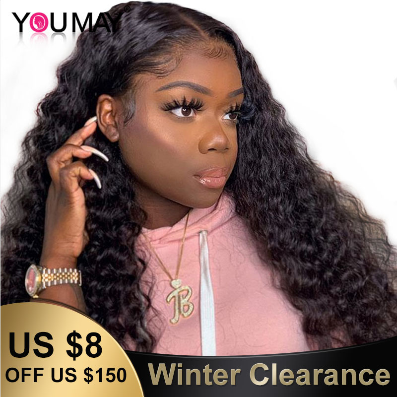 360 Lace Frontal Wigs Pineapple Deep Curly Fake Scalp 250% Density 13X6 Lace Front Human Hair Wigs For Women You May Remy Wig