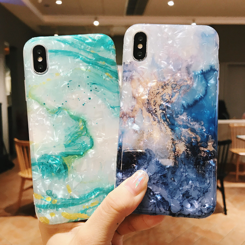 ELALA Candy 3D marble Case For iPhone X 6 6s 7 8 Plus XR XS Max Fashion Cute Cartoon Leaf Print Case For iPhone 6s Cover in Fitted Cases from Cellphones Telecommunications