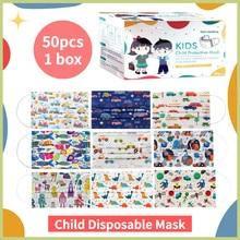 50 pces crianças descartável 3 camada dos desenhos animados carro menino menina criança filtro higiene earloop rosto máscara boca crianças máscara