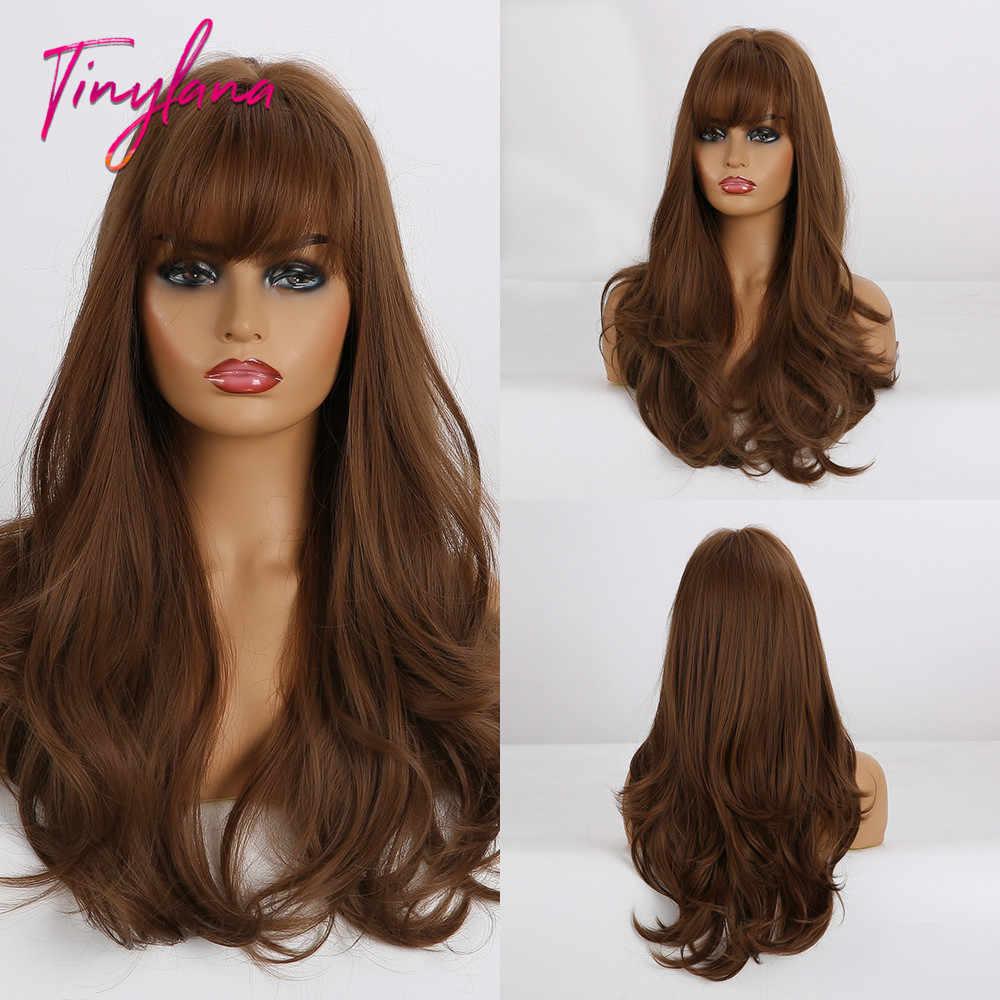 Pequena lana ombre mix mel brown perucas sintéticas longa onda natural com franja para mulher preta dailyuse & cosplay peruca resistente ao calor
