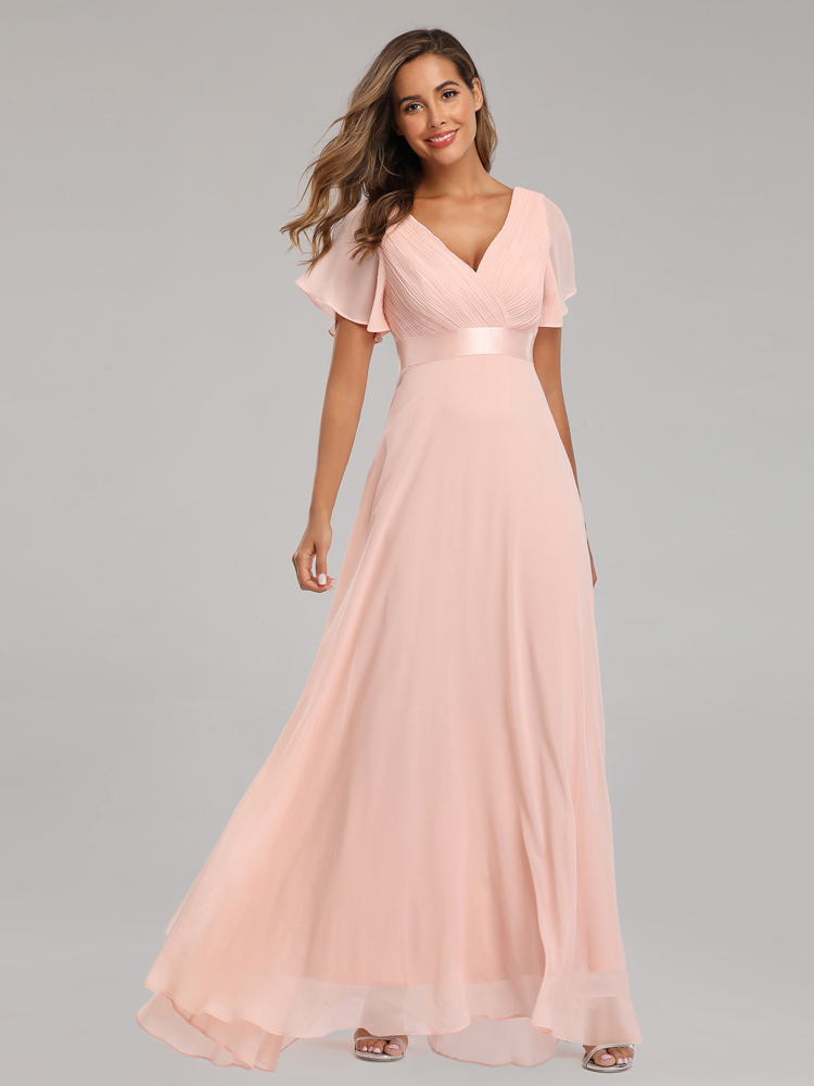 XUCTHHC Robe Party-Dress Evening-Dresses A-Line Vestidos-De-Fiesta Chiffon Formal Ruffles