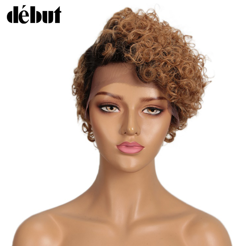 Debut Short Curly Lace Human Hair Wigs For Women Wigs Remy Brazilian Lace Human Hair Wigs Pixie Cut Short Wigs For Black Women