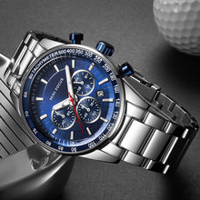 מיני פוקוס נירוסטה עסקים שעונים גברים יוקרה הכרונוגרף קוורץ שעון למעלה מותג ספורט שעוני יד Relogios 0187 כחול