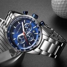 MINI FOCUS relojes de negocios de acero inoxidable para hombre, cronógrafo de cuarzo, pulsera deportiva, azul, 0187