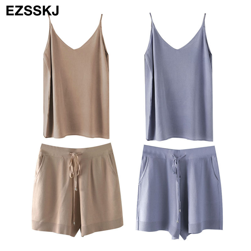 knit camisole +short 2 Pieces Set 2021 women chic  casual Knitted Pullover top +  knit pants  Jumper Tops+ short suits PJ2102