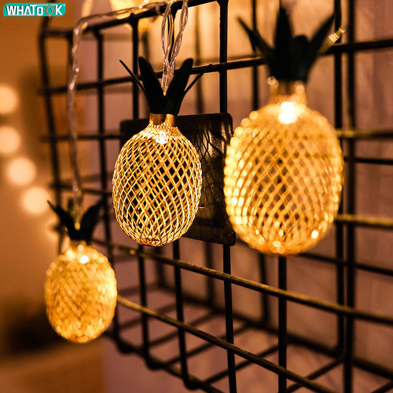 LED Fairy String Lights Iron Pineapple Garland Home Decoration For Christmas Tree New Year Wedding Party Garden Battery USB EU