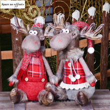 Christmas Decorations for Home Red Elk Dolls Wedding New Year Xmas Decor Lovely Figures Sitting Toys Kids Festival Gift Kerst(China)