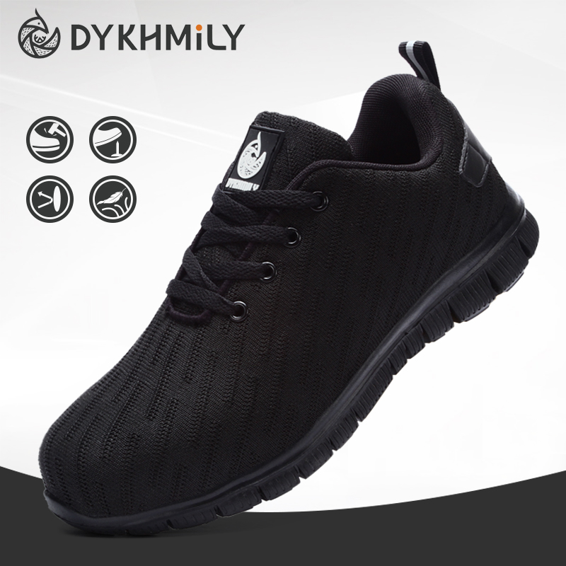 DYKHMILY Steel Toe Safety Work Shoes Men Women Anti-puncture Lightweight Breathable Industrial Sneakers With Reflective Stripe