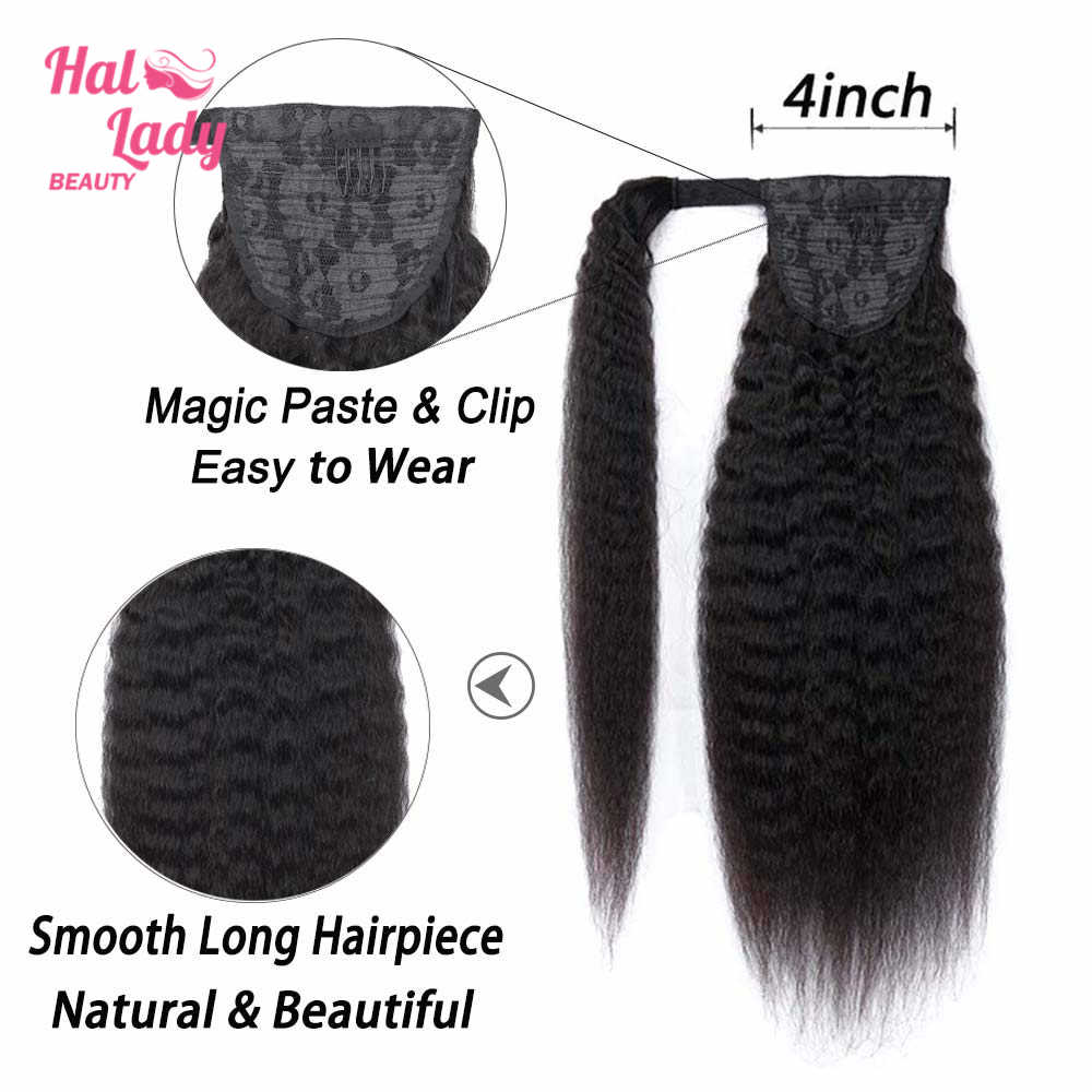 Halo Lady Schoonheid Krullend Braziliaanse Menselijk Haar Wrap Around Paardenstaart Clip-In Paardenstaart Extensions Remy Afro Kinky Krullend haarstukken
