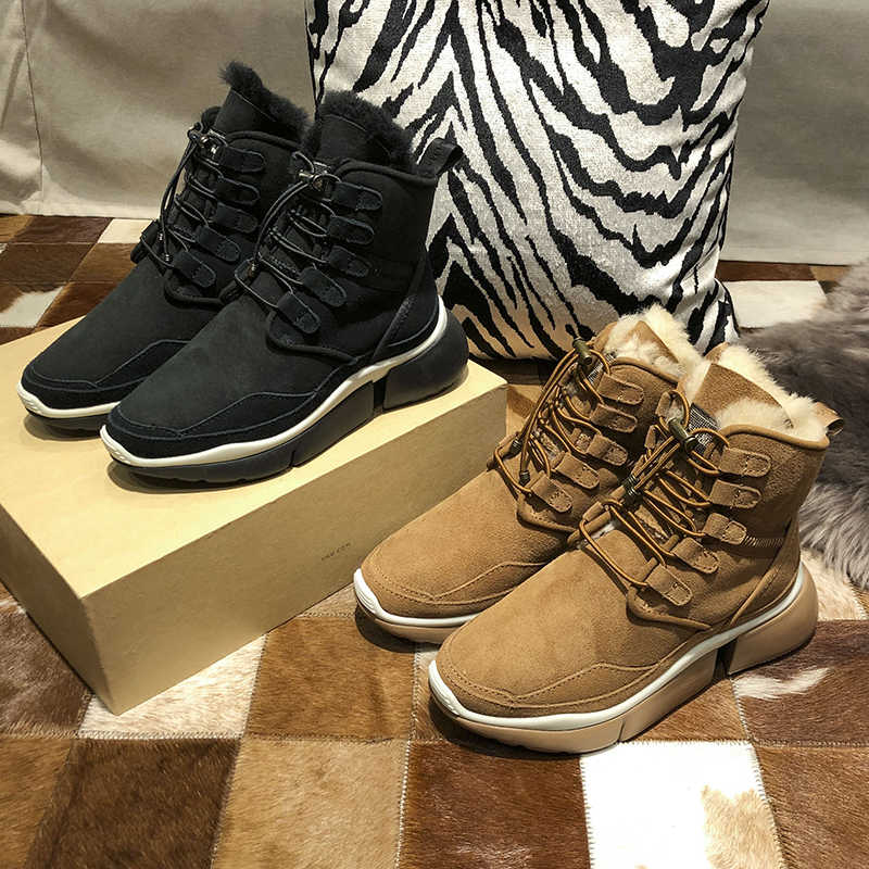 Kış kar botları kadın Shearling Botas Mujer platform ayakkabılar kadın yarım çizmeler Lace Up Botas Feminina rahat Chaussures Femme