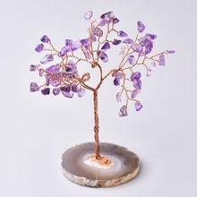 Arbre en cristal naturel améthyste Rose Quartz aigue-marine, décoration d'arbre porte-bonheur, tranches d'agate, pierre minérale, décoration de maison, cadeau de noël