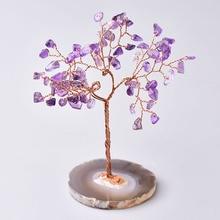 Decoration Mineral-Stone Agate Slices Aquamarine Crystal-Tree Amethyst Rose Christmas-Gift