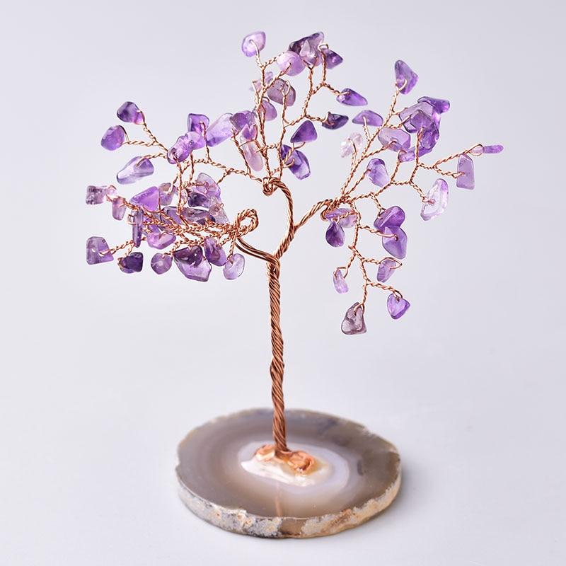 Árvore de cristal natural ametista rosa quartzo aquamarine sorte decoração da árvore ágata fatias pedra mineral decoração para casa presente de natal