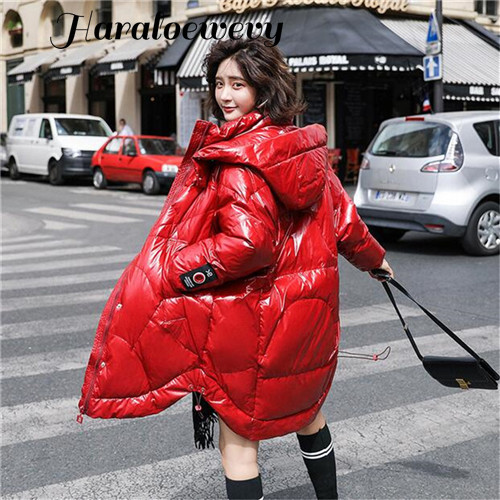 Winter White Duck Feather Long Women's Down Jacket 2019 New Hooded Zipper Loose Large Size Black Red White Women's Glossy Jacket