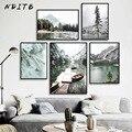 Парусиновая картина на горном озере, лодке, скандинавский пейзаж, принт в скандинавском стиле, настенное художественное изображение, Декор ...