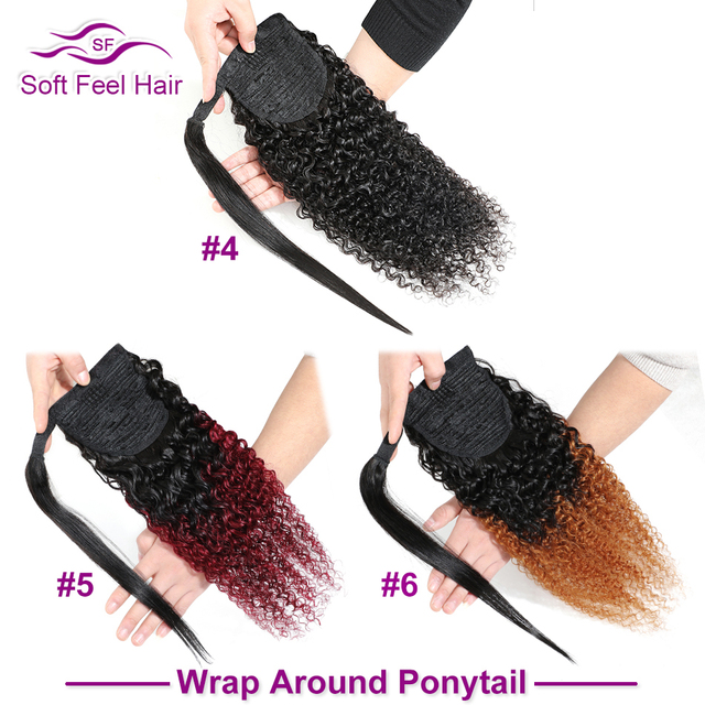 Мягкие волосы на ощупь, кудрявые, кудрявые, хвост, человеческие волосы для женщин, Remy Clip Ins, бразильские, обернутые вокруг и шнурок, конский хв...