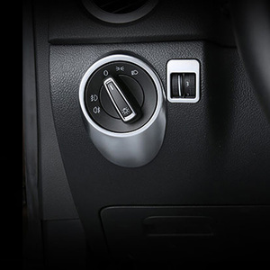 Alijunda 2pcs/set Headlight Switch Trim Cover Sticker Decor Auto Accessories For 10-14 VW Volkswagen Tiguan(China)
