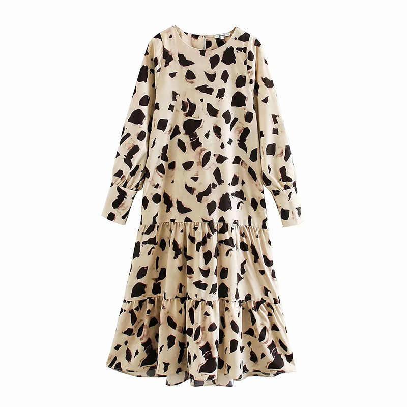   Gaun Kasual Wanita Sapi Hewan Cetak Lengan Panjang Gaun Cascading Ruffles Longgar Vestidos Kantor Vestidos Mujer Ropa Mujer