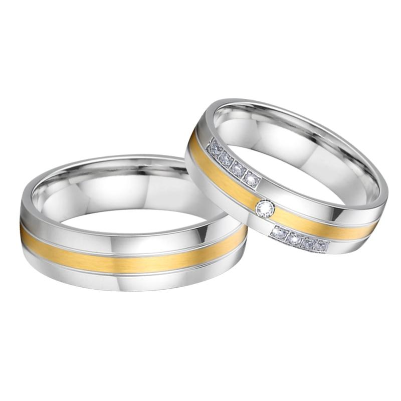 Top qualité hommes et femmes anneaux de mariage pour couple amoureux - Bijoux fantaisie - Photo 2