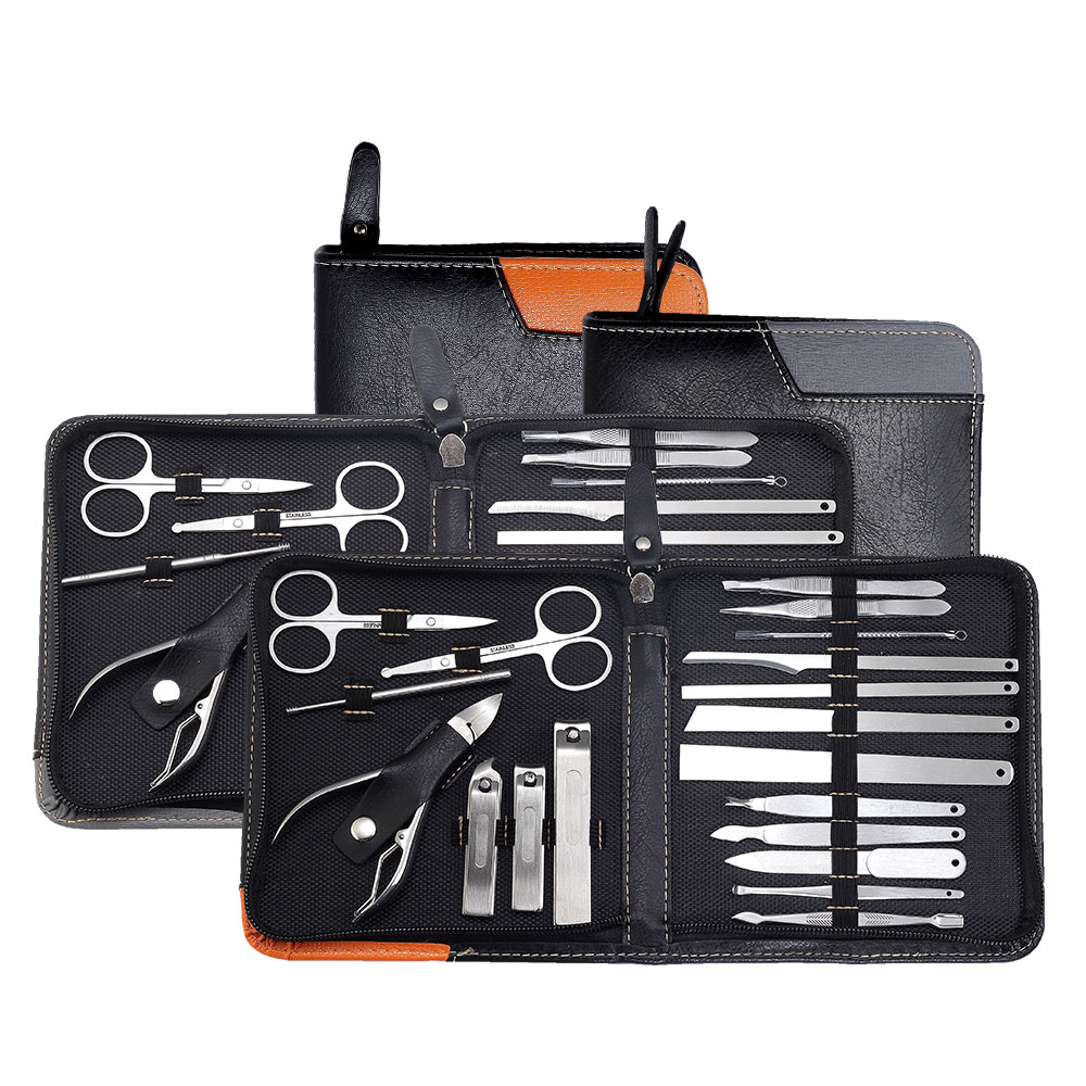 Luxury Professional Manicure Set 19/10 in <font><b>1</b></font> Nail Care Pedicure Kit Acne Extractor Nail Art Tool Clipper Tweezer Beauty Tool Gift image