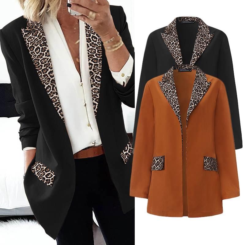 ZANZEA Women Office Work Blazers 2020 Fashion Patchwork Leopard Lapel Blazers Thicken Coats Jackets Outwear Chaqueta Mujer 5XL