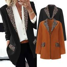 ZANZEA Women Office Work Blazers 2020 Fashion Patchwork Leopard Lapel Blazers Thicken Coats Jackets Outwear Chaqueta Mujer 5XL(China)