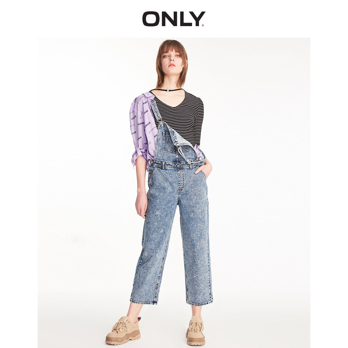 ONLY Women's Loose Straight Fit 100% Cotton Capri Denim Overalls | 11927K502