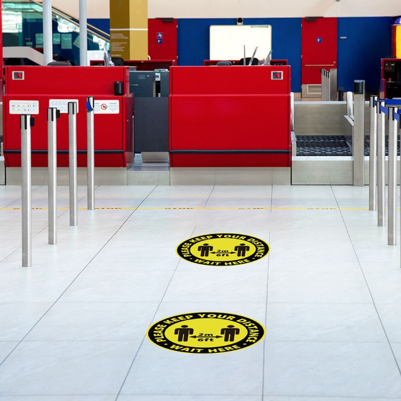 Round Circle Sticker Keep Social Distance Safety Floor Sign People Gathering Control Adhesive Paster