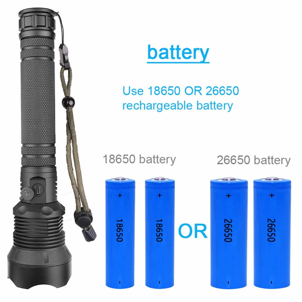 Super Bright Tactical Xhp90 LED USB Rechargeable Flashlight Torch 18650 Battery