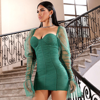 2019 New Autumn Long sleeve Bandage Dress Green Sexy Draped Mini Bodycon Dresses Celebrity Evening Running Way Party Vestidos
